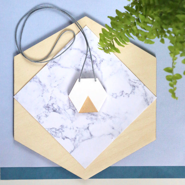GEO - Hexagon Necklace - White and Ply-Amindy