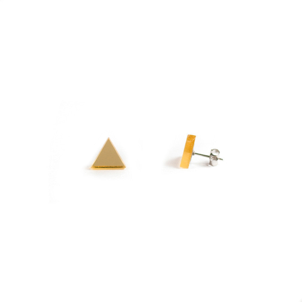 GEO - Triangle Earring Studs - Gold Mirror-Amindy
