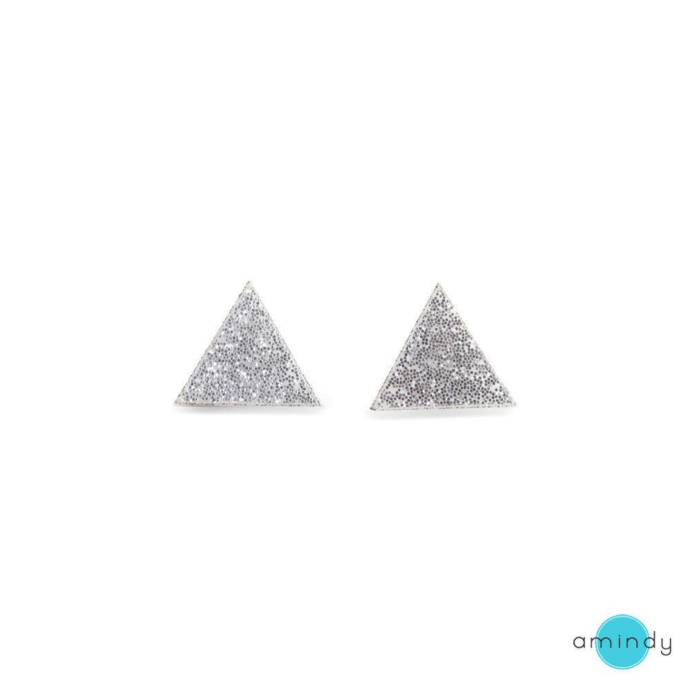 GEO - Triangle Earrings - Silver Glitter-Amindy