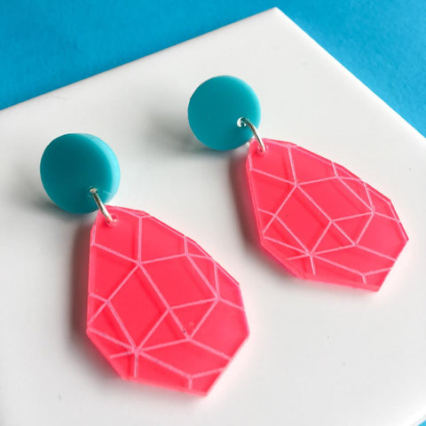 Girlfriend Earring Drops - Neon Pink, Lilac and Aqua