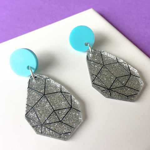 Girlfriend Earring Drops - Silver Glitter, Black and Aqua
