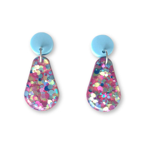 Glitter Resin Drop Earrings - Candy Pink-Amindy