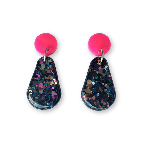 Glitter Resin Drop Earrings - Cocktail-Amindy