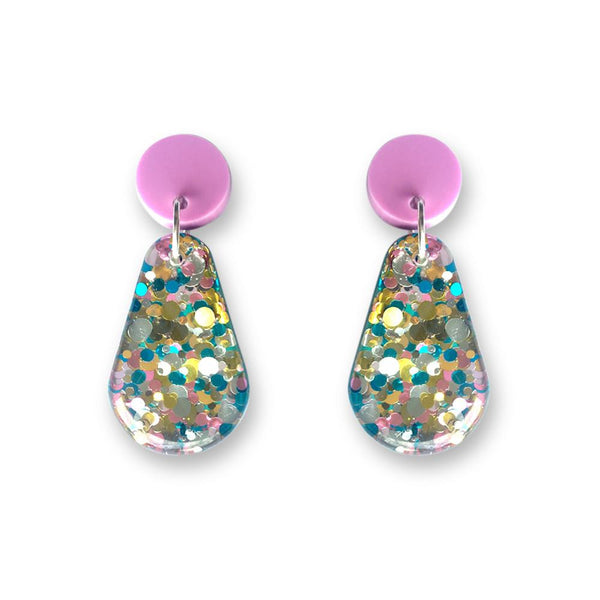 Glitter Resin Drop Earrings - Oceanic Aqua-Amindy