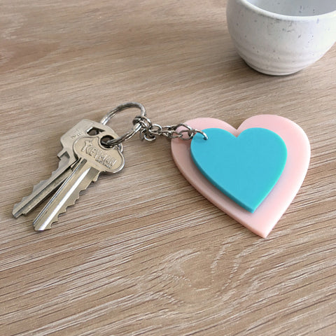 Heart Keyring Combo - Blush Pink and Aqua Blue