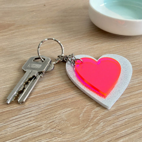 Heart Keyring Combo - Silver Glitter and Neon Pink
