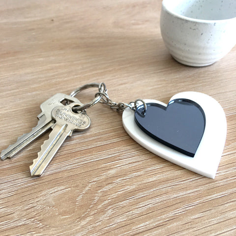 Heart Keyring Combo - White and Grey Mirror