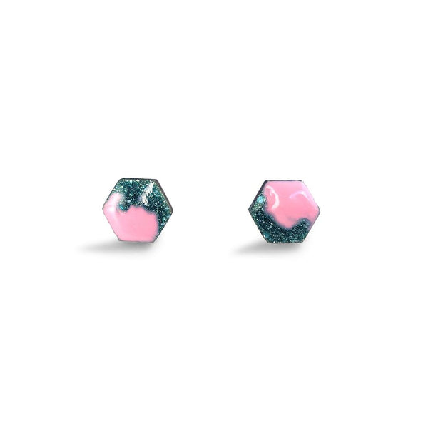 Hexagon Free Flow Earring - Baby Pink and Teal Glitter-Amindy