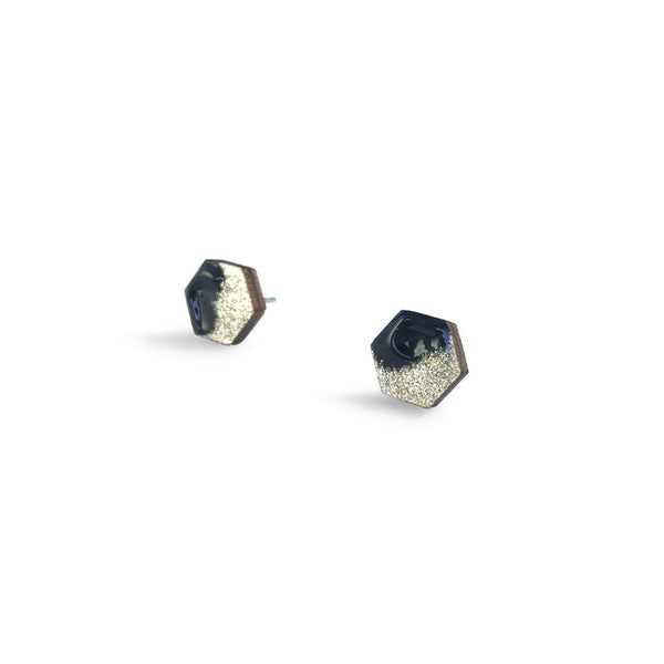 Hexagon Free Flow Earring - Black and Gold Glitter-Amindy