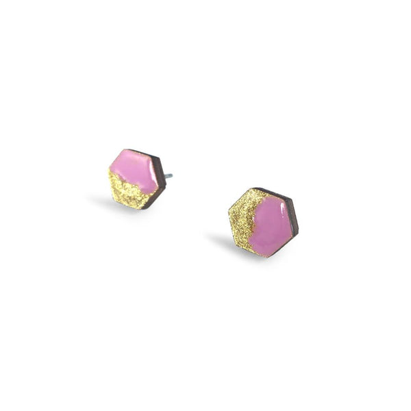 Hexagon Free Flow Earring - Lilac and Gold Glitter-Amindy