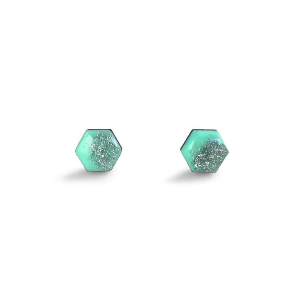 Hexagon Free Flow Earring - Mint Green and Silver Glitter-Amindy