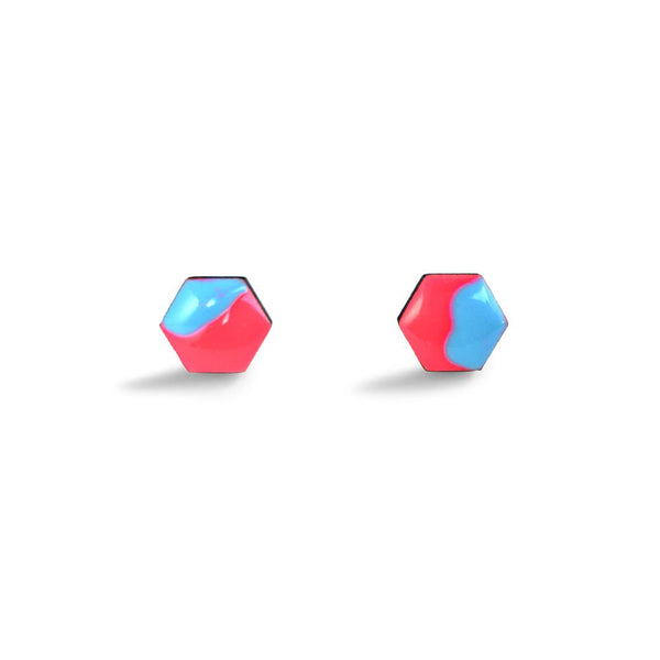 Hexagon Free Flow Earring - Neon Red and Baby Blue-Amindy