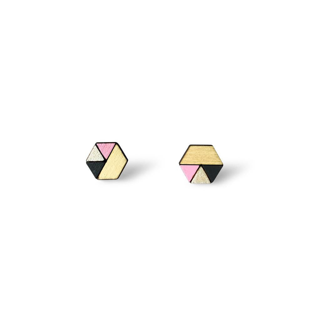 Hexagon Sliced Earrings - Baby Pink, Pearl, Charcoal-Amindy