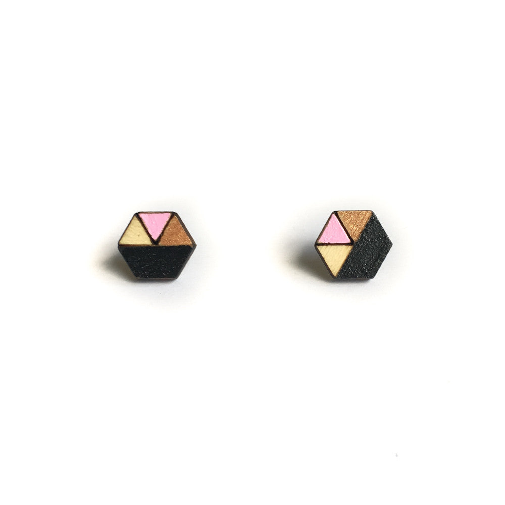 Hexagon Sliced Earrings - Black, Dusty Pink and Bronze Glitter-Amindy