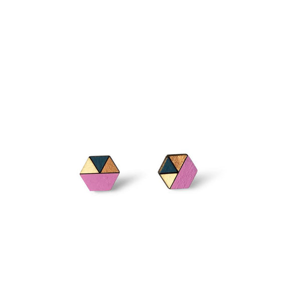 Hexagon Sliced Earrings - Mauve, Dusty Blue, Bronze-Amindy