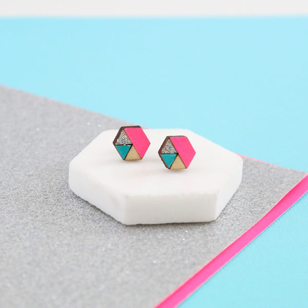 Hexagon Sliced Earrings - Neon Pink, Aqua and Silver Glitter-Amindy
