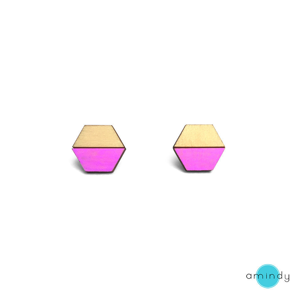 Hexy Lexy Earrings - Neon Purple-Amindy