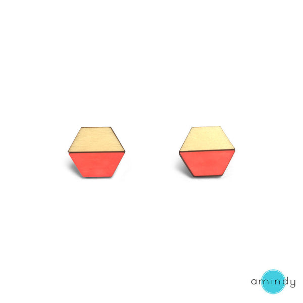 Hexy Lexy Earrings - Neon Red-Amindy