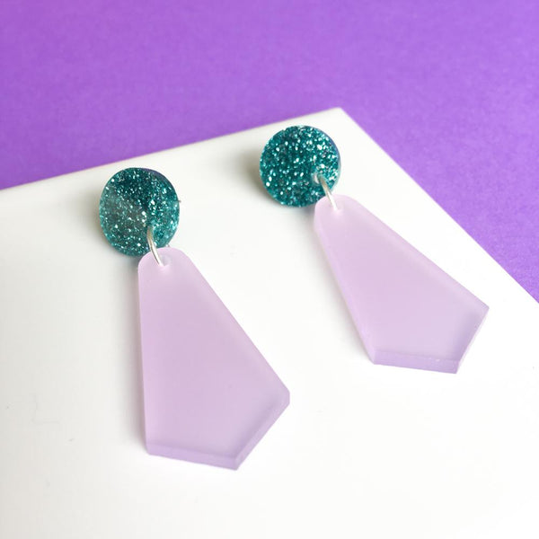 Jazzy Drop Earrings - Frosted Lilac and Teal Glitter-Amindy