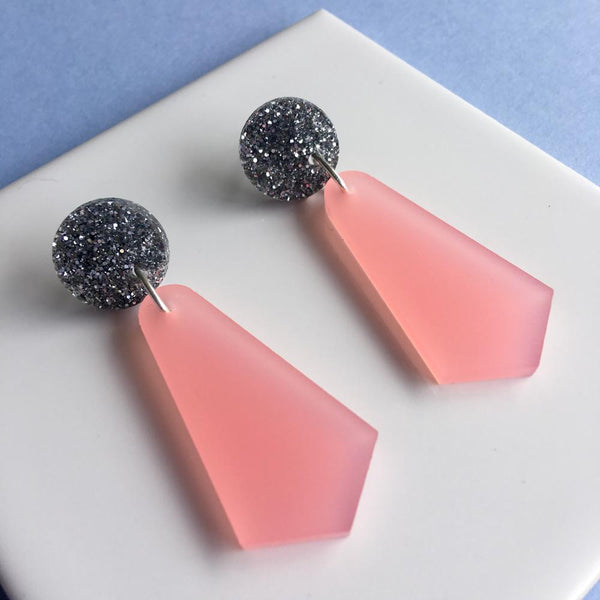 Jazzy Drop Earrings - Frosted Pink and Silver Glitter-Amindy