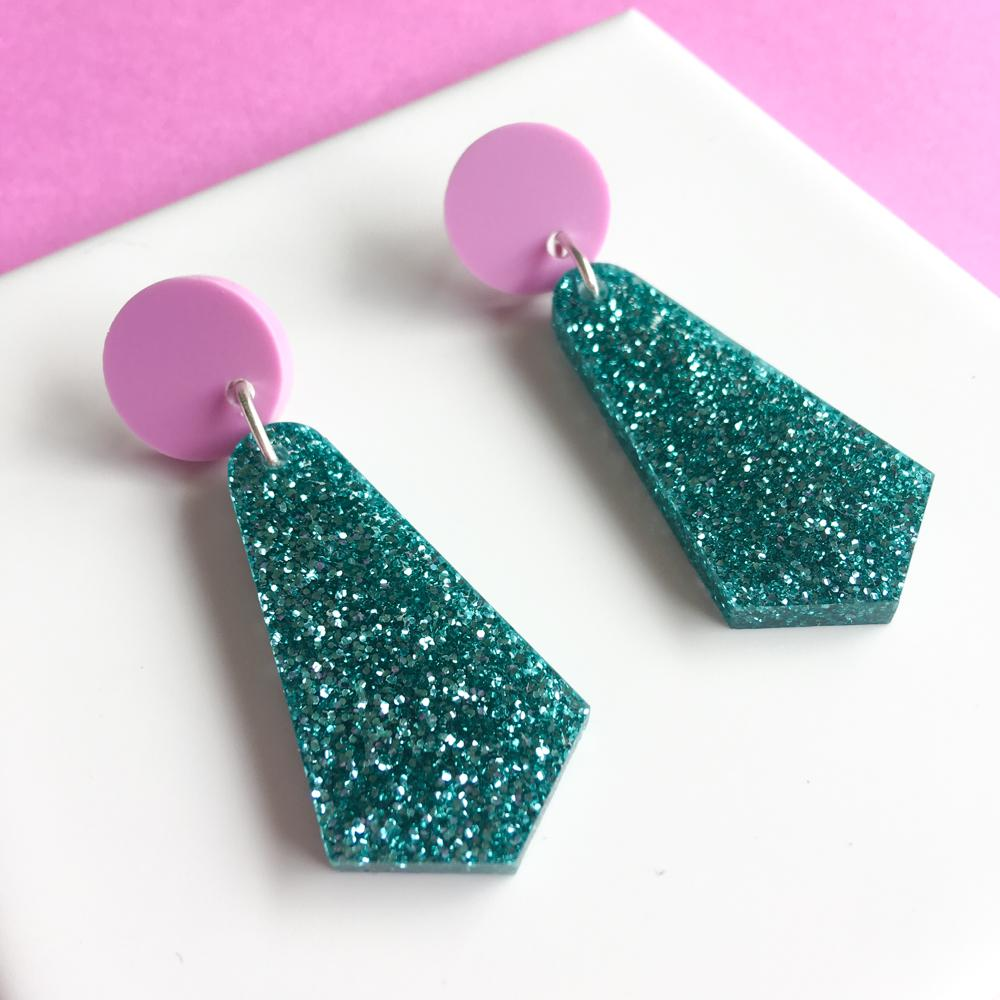 Jazzy Drop Earrings - Teal Glitter and Lilac-Amindy