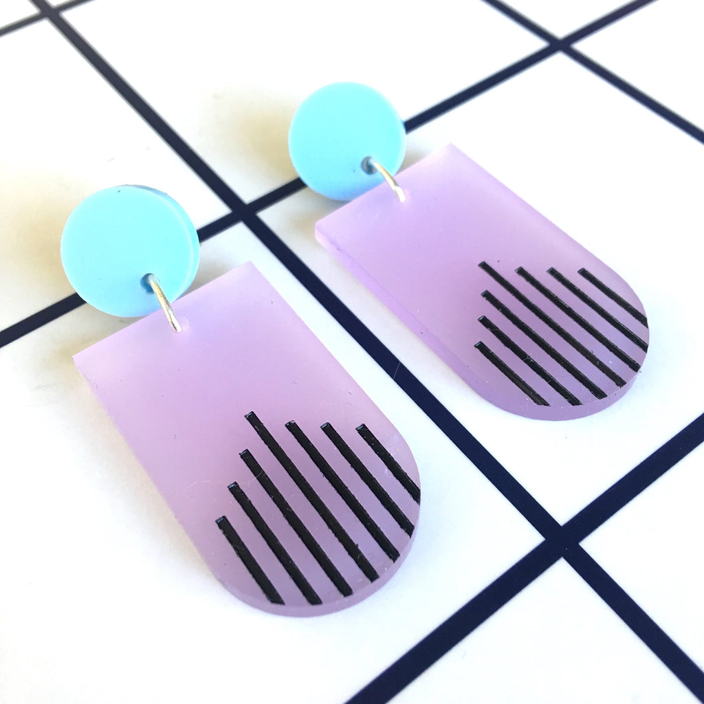 La Di Da drop earrings - Lilac, Baby Blue, Black-Amindy