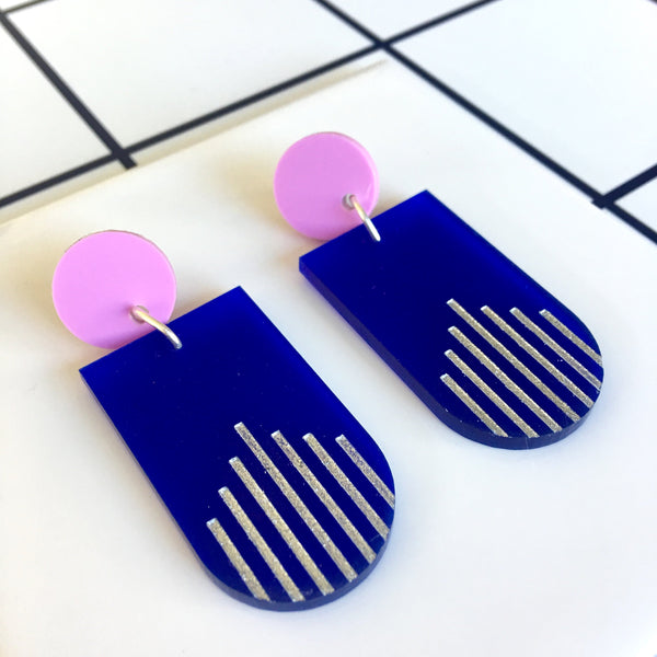 La Di Da drop earrings - Royal Blue, Lilac, Silver Glitter-Amindy