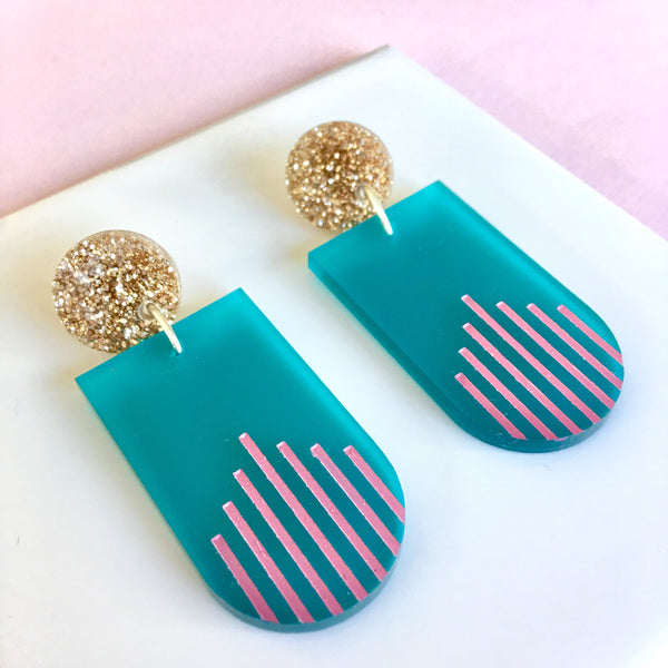 La Di Da drop earrings - Teal, Pink, Gold Glitter-Amindy