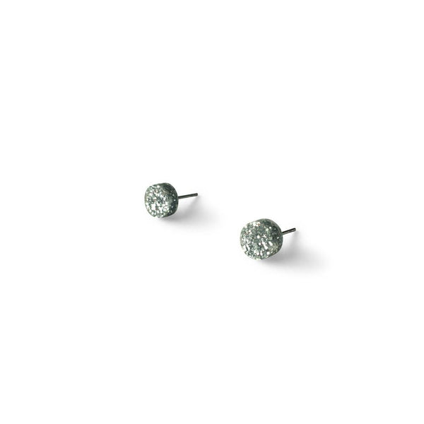 MINI - Circle Earring Studs - Bright Silver Glitter-Amindy
