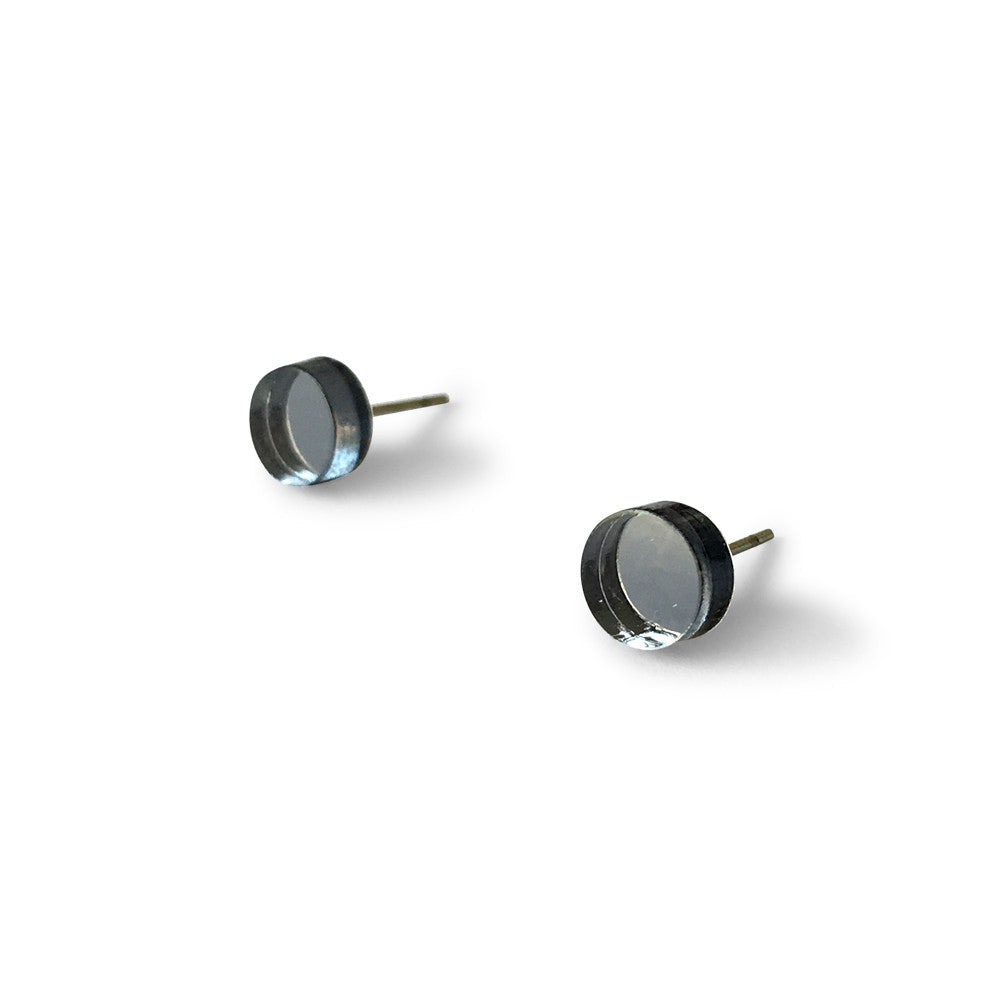 MINI - Circle Earring Studs - Grey Mirror-Amindy