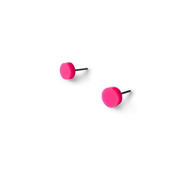 MINI - Circle Earring Studs - Hot Pink-Amindy