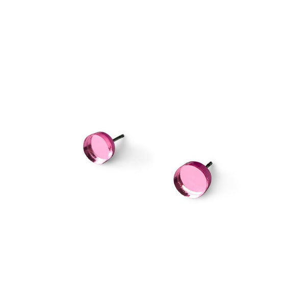 MINI - Circle Earring Studs - Pink Mirror-Amindy
