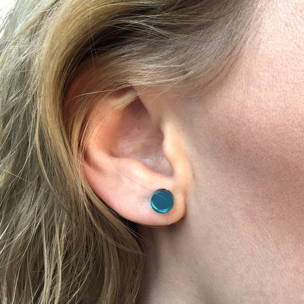 MINI - Circle Earring Studs - Teal Mirror-Amindy