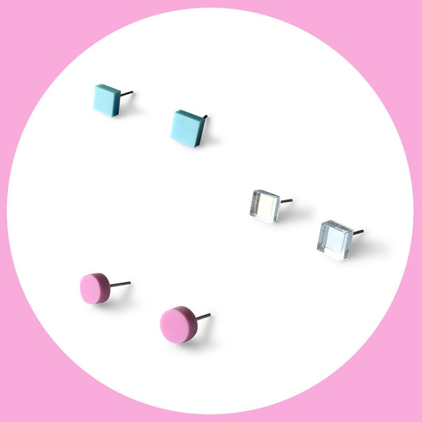 Mini earring studs triple pack - baby blue, mirror and plum purple-Amindy