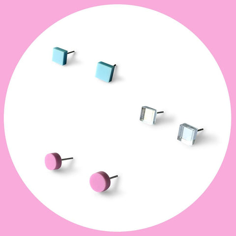 Mini earring studs triple pack - baby blue, mirror and plum purple