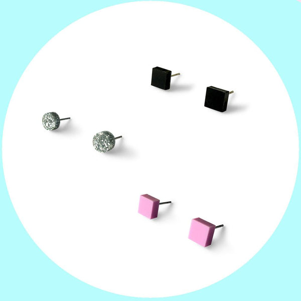 Mini earring studs triple pack - black, silver glitter and lilac-Amindy