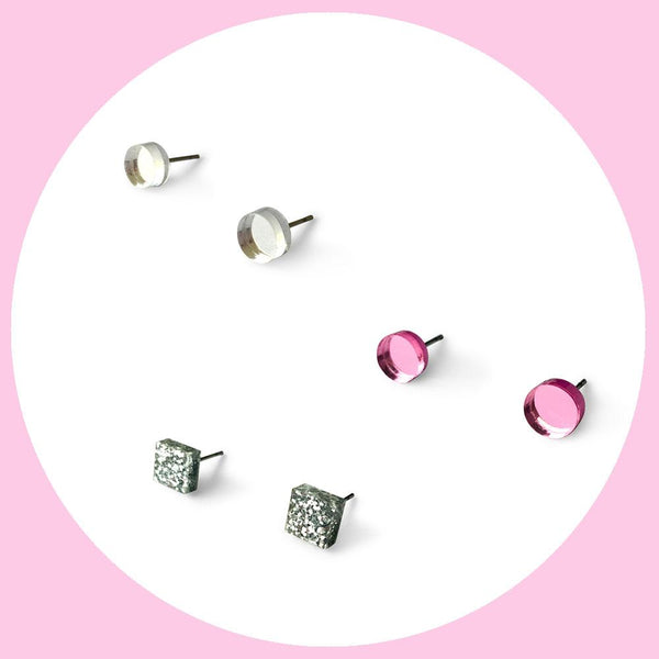 Mini earring studs triple pack - clear mirror, silver glitter and pink mirror-Amindy