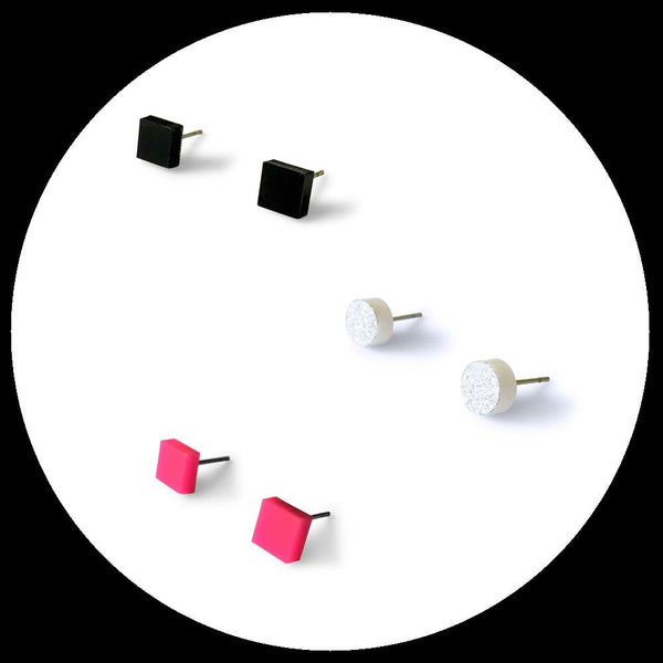 Mini earring studs triple pack - hot pink, black and silver glitter-Amindy