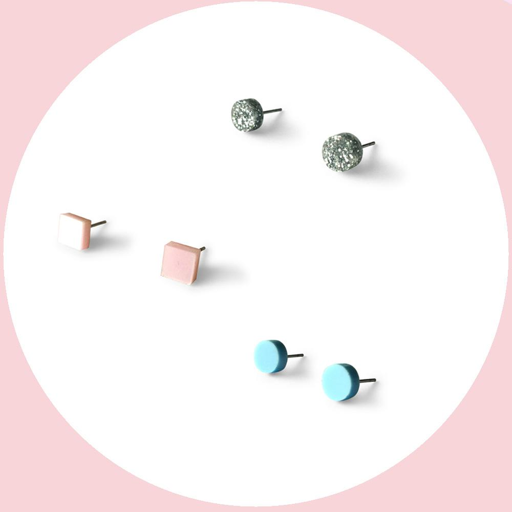 Mini earring studs triple pack - pearlescent pink, silver glitter, baby blue-Amindy