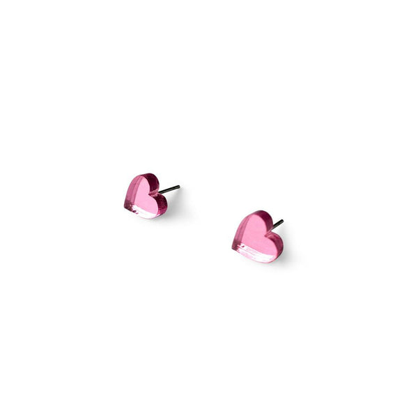 MINI - Heart Earring Studs - Pink Mirror-Amindy