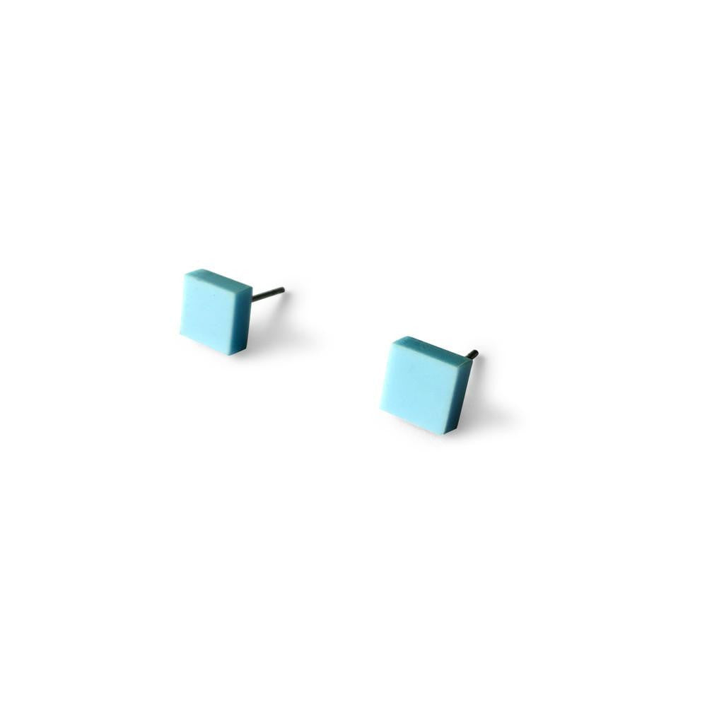 MINI - Square Earring Studs - Baby Blue-Amindy