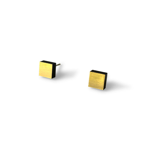MINI - Square Earring Studs - Brushed Gold-Amindy