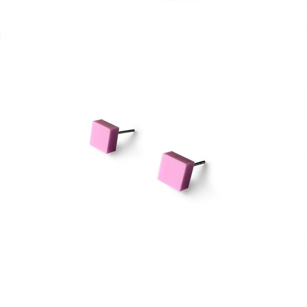 MINI - Square Earring Studs - Pastel Purple-Amindy