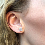 MINI - Square Earring Studs - Silver Glitter-Amindy
