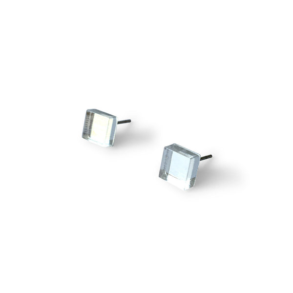 MINI - Square Earring Studs - Silver Mirror-Amindy