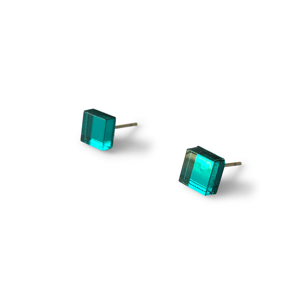 MINI - Square Earring Studs - Teal Mirror-Amindy