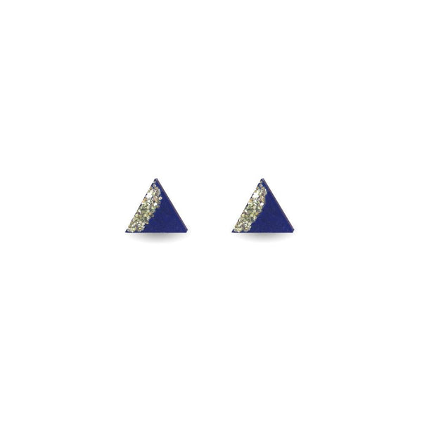 Triangle Earrings - Navy and Gold Glitter-Amindy