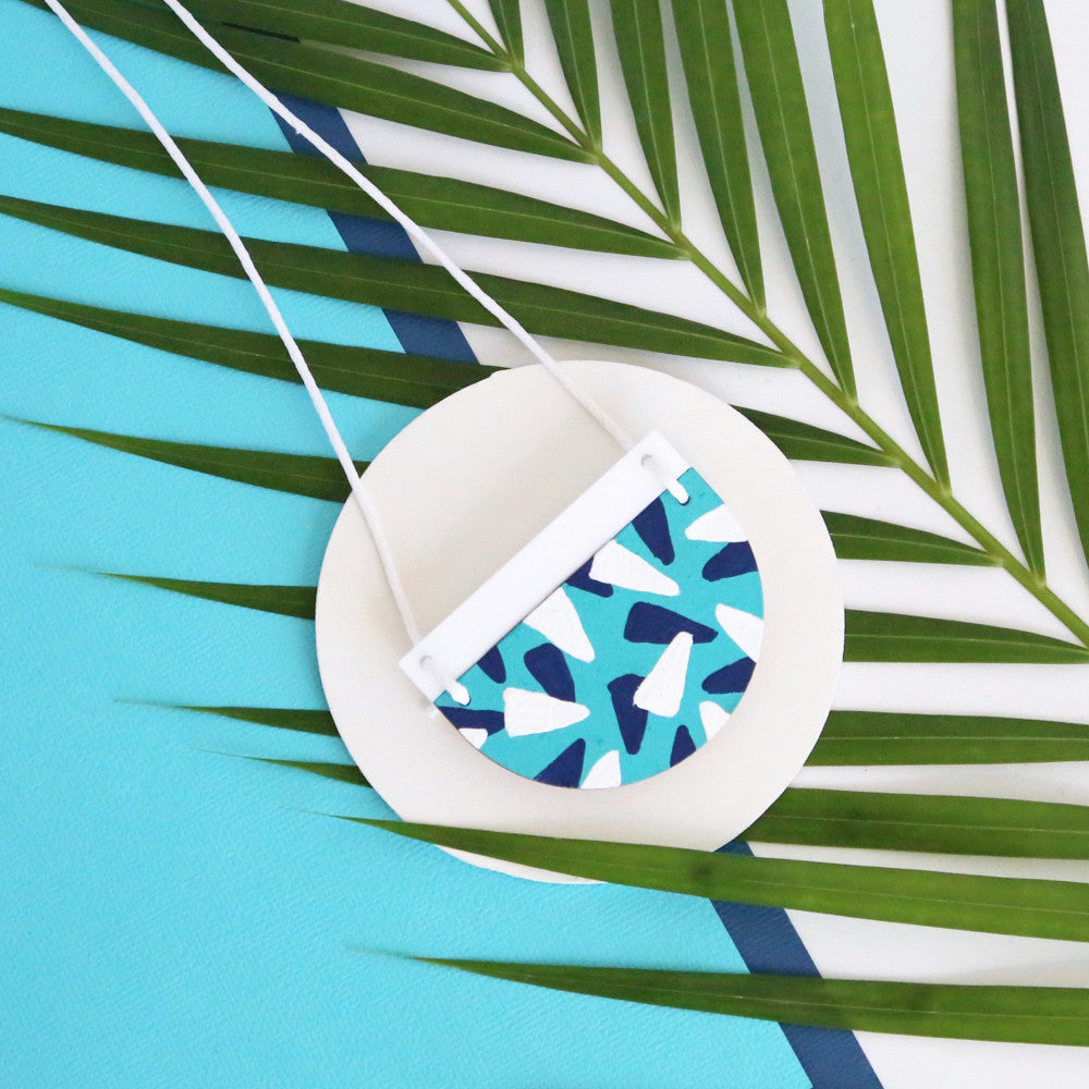 Tropics Necklace - Aqua, Navy Blue and White-Amindy
