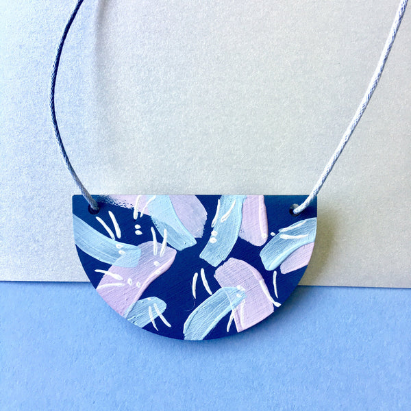 Tropics Necklace - Navy, Lilac and Baby Blue-Amindy