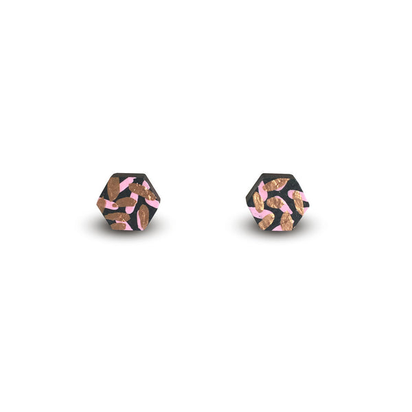 Tropics Stud Earrings - Black, Pink and Bronze-Amindy